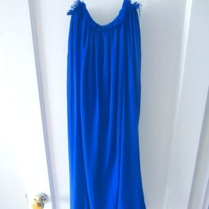 Cobalt blue strapless dress